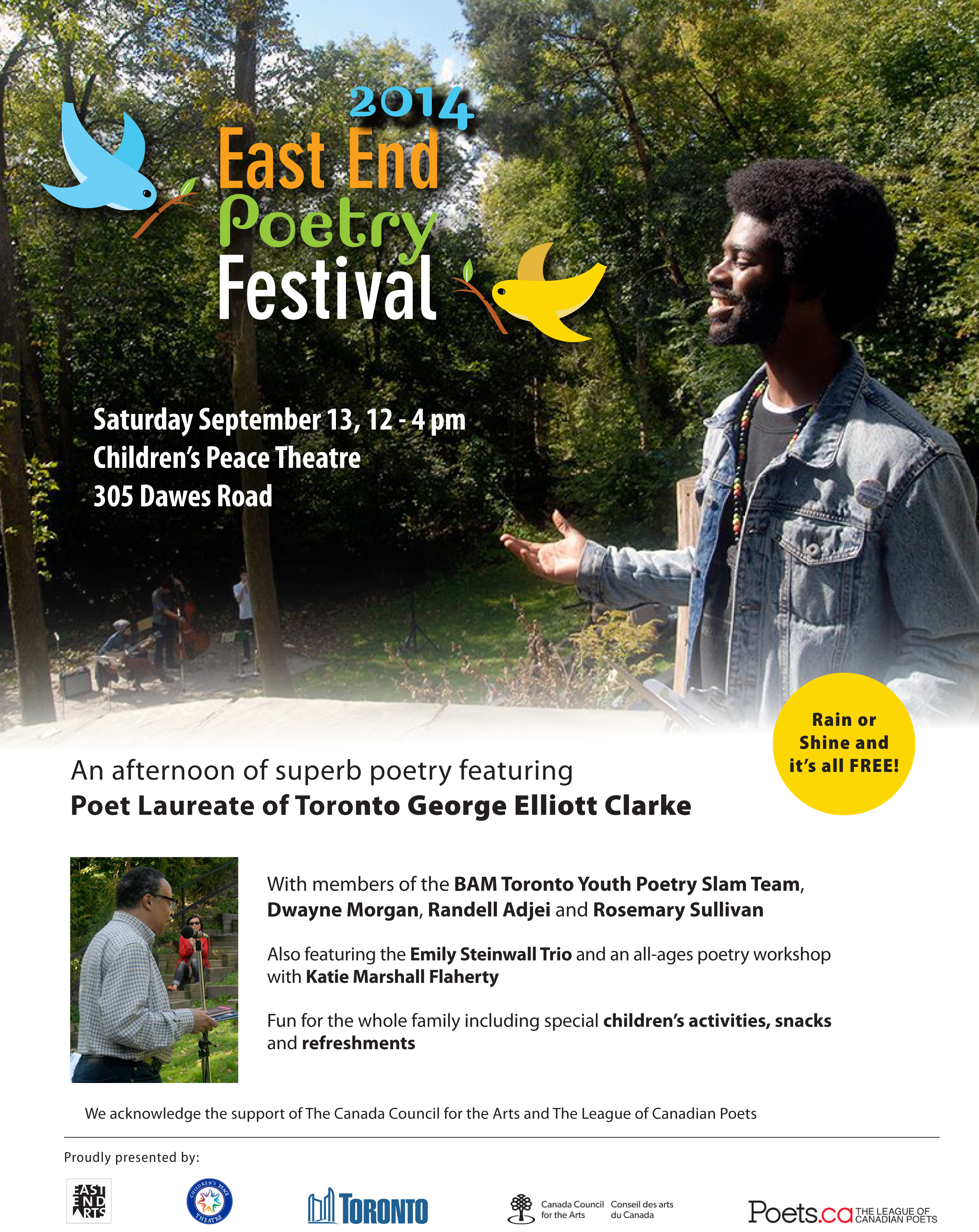 2014 East End Poetry Festival - September 13, 12-4pm at Children's Peace Theatre
