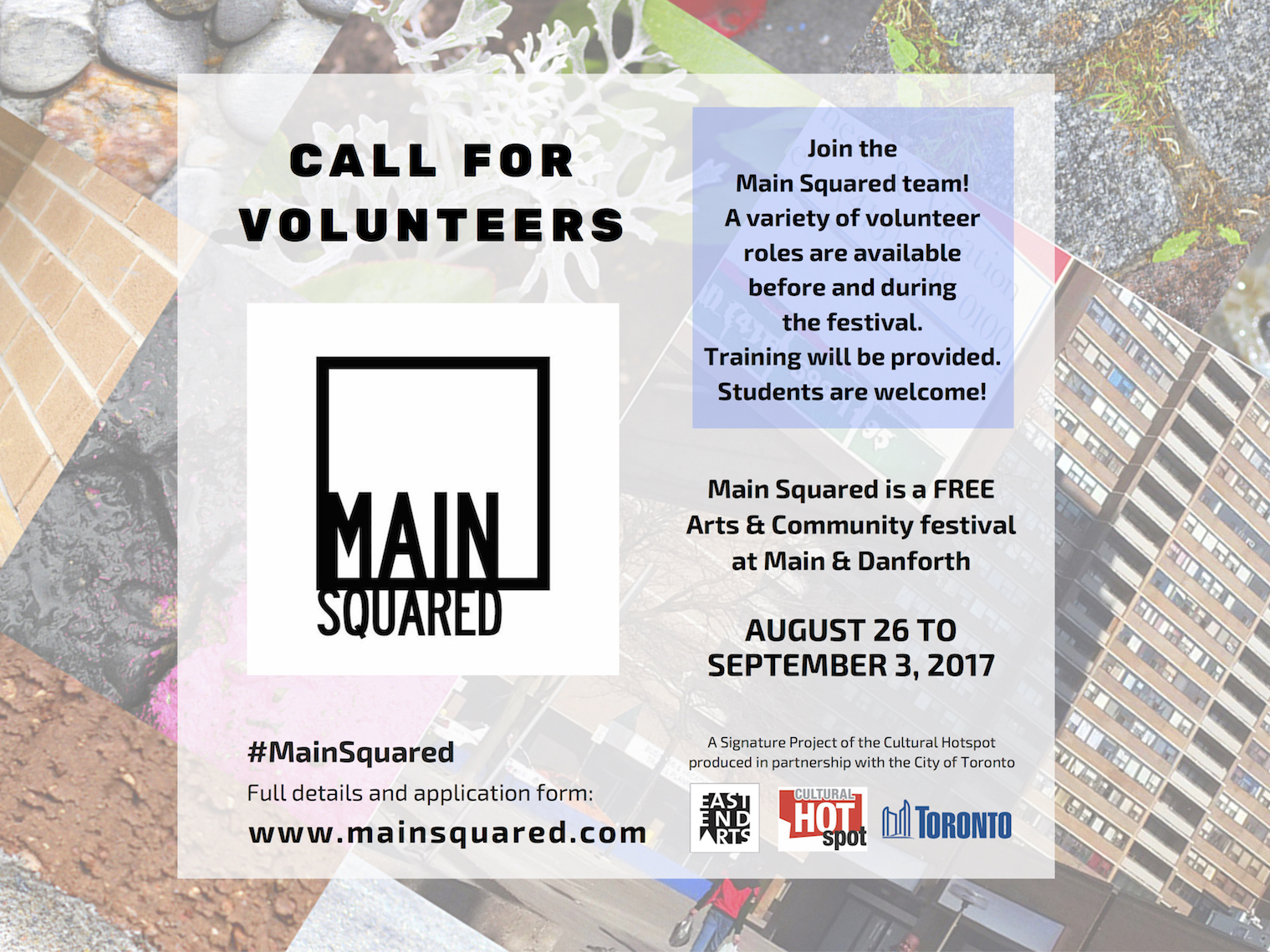 Main Squared: Call For Volunteers