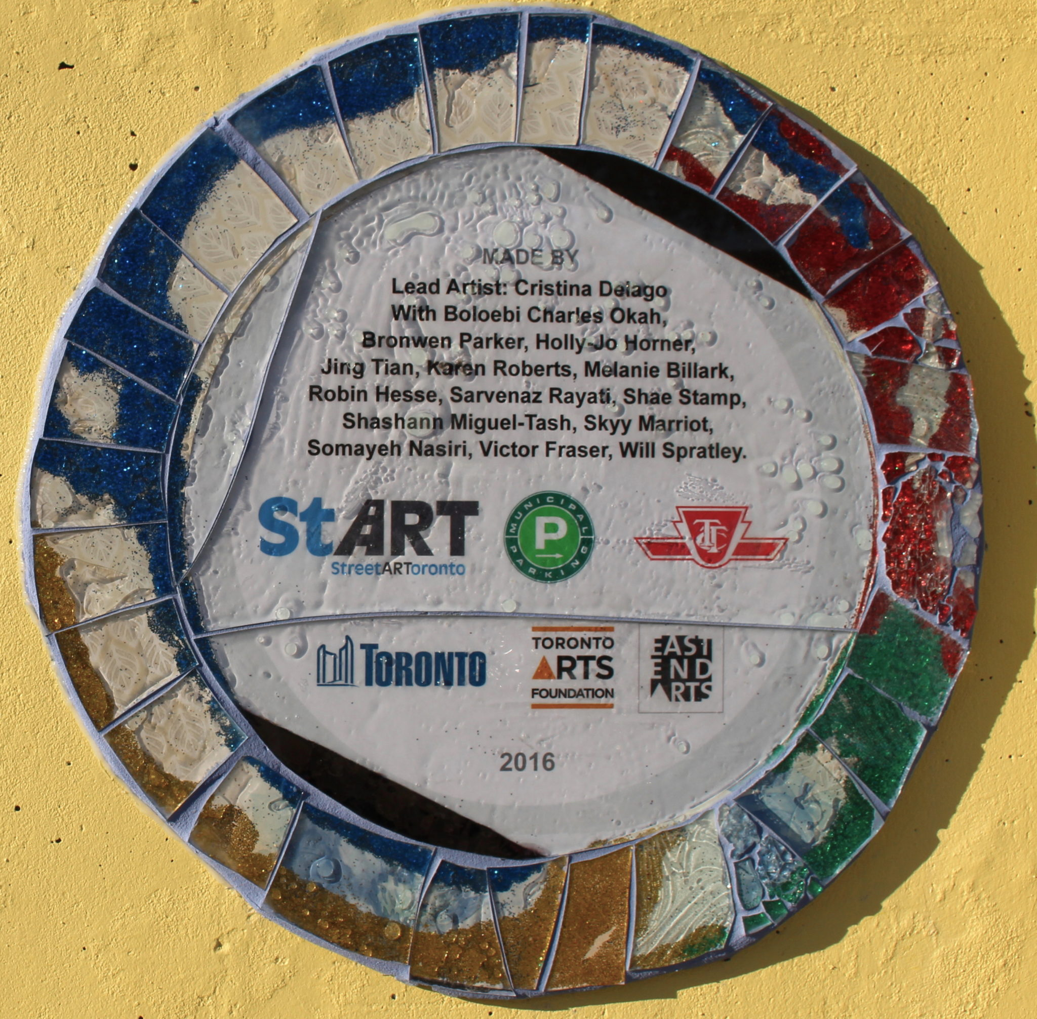 Mural Artists: Coxwell Laneway Mosaic Mural: Celebrating The Artists