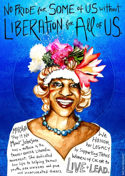 """Digital Illustration Art piece. The piece is of a person with brown skin, smiling, who has flowers on their head. The words above their head read, """"No pride for some of us without liberation for all of us""""."""