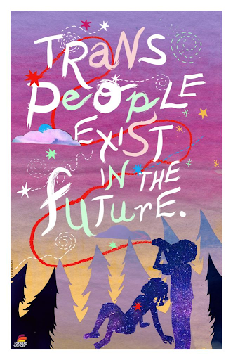"""A digital illustrative art piece. Two people are looking up in the purple sky, which reads """"Trans people exist in the future""""."""