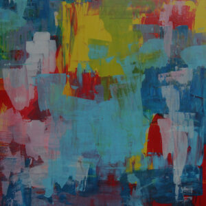 An Abstract Painting Of Many Colours, Including Light Blue, Dark Blue, Yellow, Red, And Green.