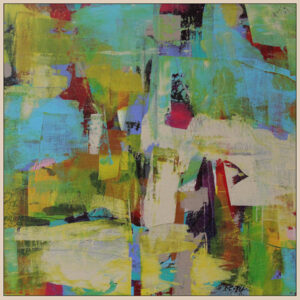 An Image Of An Abstract Painting With Many Colours Including Blue, Yellow, Cream, Red, Black, And Green.