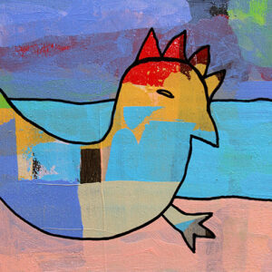 A Painting Of An Abstract Chicken Outlined In Bold Black. The Main Colours Are Light Blue, Yellow, Red, And Purple.