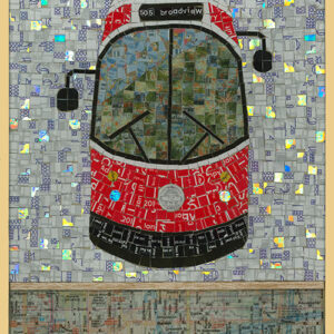 """An Image Of A Mosaic Art Piece Made From Metropass Cards. The Mosaic Pieces Form Together To Create An Image That Depicts The Front Of A Red And White TTC Streetcar. The Top Of The Streetcar Reads, """"505 Broadview."""" The Background Is Grey, And The Bottom Of The Image Shows A Map."""