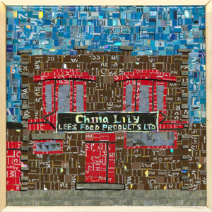 An Image Of A Mosaic Art Piece Made From Metropass Cards. The Mosaic Pieces Form Together To Create The Storefront Of China Lily, Lee's Food Products LTD. The Main Colours Are Brown And Red, With A Blue Sky Background.