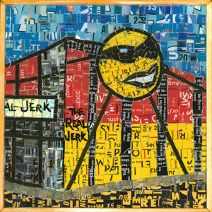 An Image Of A Mosaic Art Piece Made From Metropass Cards. The Mosaic Pieces Form Together To Create An Image Of The Outside Of The Real Jerk Restaurant. There Is Also A Sun With Sunglasses On The Building, Which Is Part Of The Logo. The Main Colours Are Red And Yellow, With A Blue Sky Background.