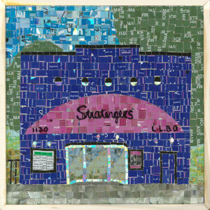 """An Image Of A Mosaic Art Piece Made From Metropass Cards. The Mosaic Pieces Form Together To Create An Image Of A Store Front That Reads , """"Stratengers."""" The Sign Also Has The Numbers, """"1130"""" And """"L.L.B.O."""" The Main Colours Are Deep Blue And Pink, With A Green And Blue Background."""
