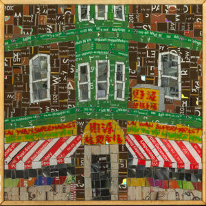 An Image Of A Mosaic Art Piece Made From Metropass Cards. The Mosaic Pieces Form Together To Create An Image Of The Cai Yuan Supermarket. The Main Colours Are Brown, Green, Red And White.