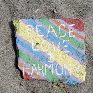 A Photo Of A Rock On A Beach. The Rock Has A Rainbow Background And In White Text Reads,