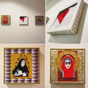 An Image Of 4 Panels Showing A Series Of Artwork By Hanan. One Of The Pieces Shows A Closeup Of Lips With Red Lipstick. The Second One Shows A Person Pouring A Cup Of Tea With A Yellow Halo And Background, With A Border Of Images Of Stitched Lips. The Third One Shows A Person With A Headscarf And Sunglasses On, Surrounded By Ornate And Intricate Designs.