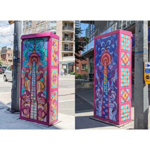 Two Side-by-side Shots Showing A Painted Electrical Box. The Art Is A Bright Pink, Blue, And Orange Rendition Of The CN Tower In Mosaic-style Tiles Of Colour.