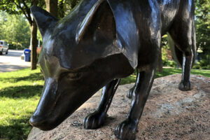 A picture of a bronze statue of a fox. The statue rests on a rock in a park.